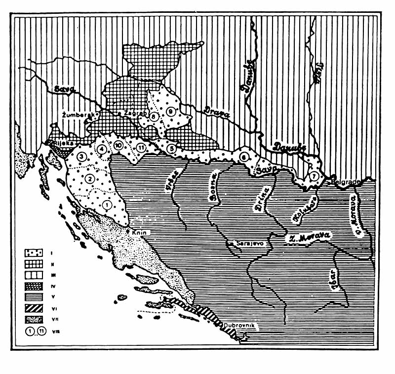 Western part of the Balkan Penisula and Southern Pannonia at the end of the 18th century I - Military border under Austrian administartion. II - Zagreb area. III - Austria and Hungary. IV - Hungarian Littoral. V - Turkey. VI - Dubrovnik Republic. VII - Venetian Republic. VIII - The Military border regiments: 1. Lički. 2. Otočki. 3. Ogulinski. 4. Slunjski. 5. Gradiški. 6. Brodski. 7. Petrovaradinski. 8. Križevački. 9. Đurđevački. 10. Glinski. 11. Petrinjski. (Source: Mile Nedeljković, Note 21)
