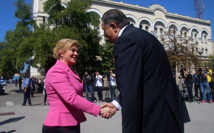 Predsjednik Republike Srpske Milorad Dodik sa predsjednikom Hrvatske Kolindom Grabar Kitarović.