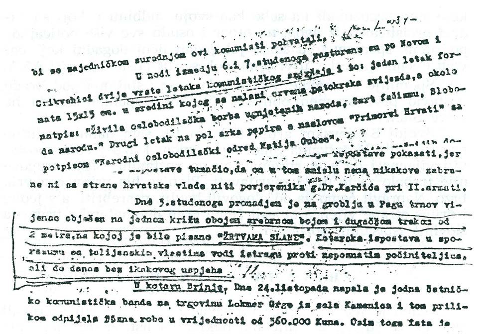 The facsimile of a periodic report from November 1941 of the so-called Great County Vinodol and Podgorje, which so-called Great Governor Sušić delivers to the Ustasha Internal Affairs Directorate of the NDH informing them on new events in the previous period.