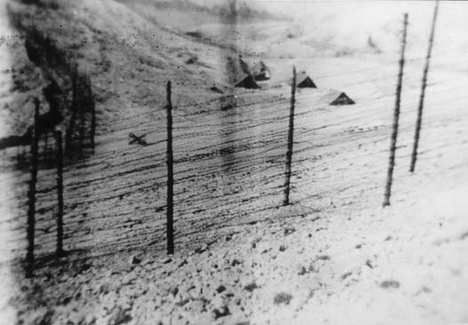 The Serbian Camp; double wire, some sheds. We can see the Frisian horse for the opposite door. The ones we can see in the photo led on the left over the small wall towards Furnaža, to the pits (Italian photo, September, 1941).