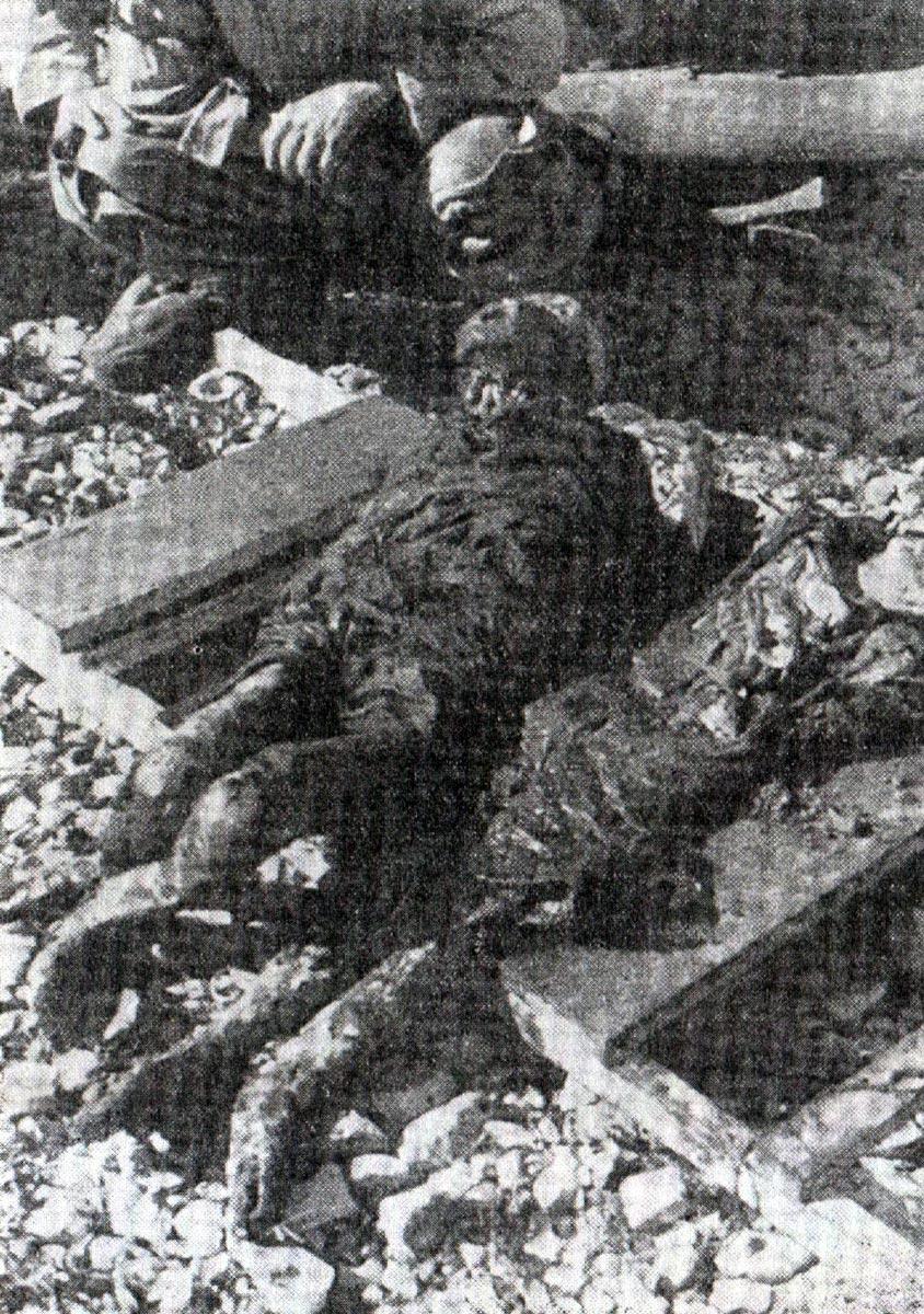 Exhumated bodies of two girls from mass grave on the island of Pag in Croatia. Trattamento degli italiani da parte Jugoslava dopo l`8. settembre 1943 (Editore Palladino), pp. 150-a.
