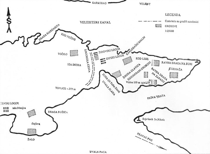 Skica dijel otoka Paga (načinila ju je Okružna komisija za ratne zločine za Hrvatsko primorje) na kojem su ustaše, u ljeto 1941, usnovale koncentracioni logor
