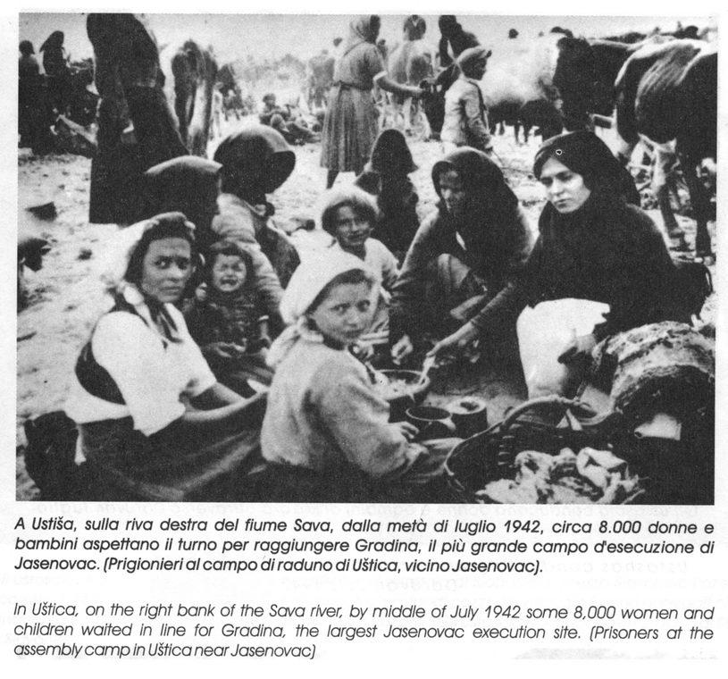 Uštica, na desnoj obali rijeke Save, sredinom jula 1942. oko 8.000 žena i djece pred Gradinom, najvećim jasenovačkim mjestom za likvidaciju.