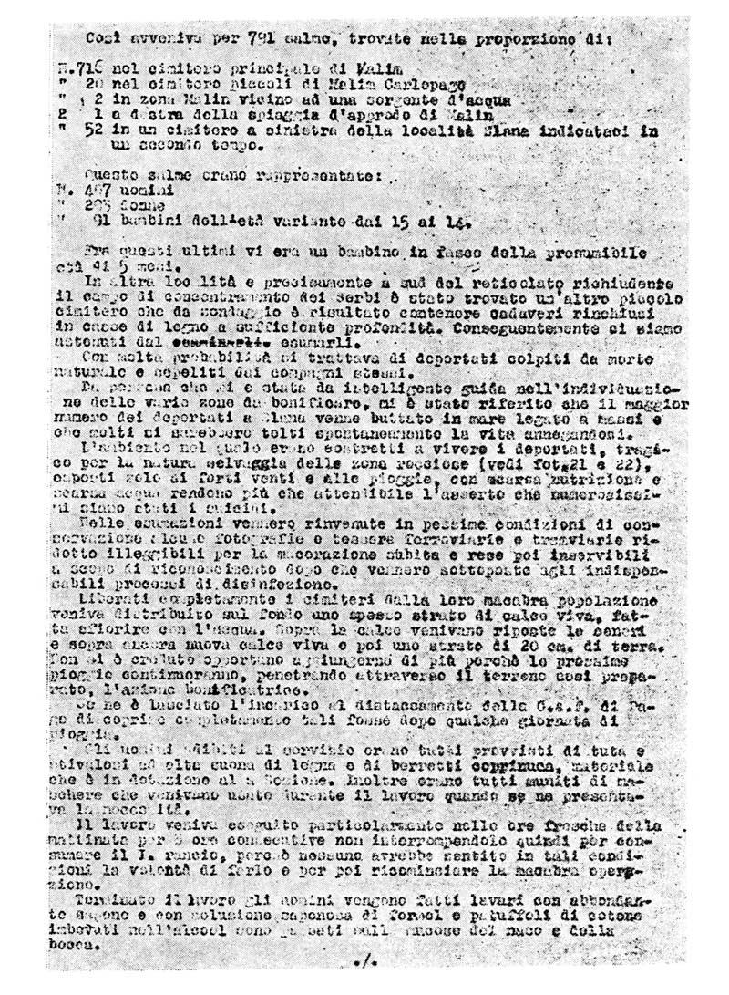Original document of Italijan medical corps. Ante Zemljar, haron i sudbine, Beograd 1988, pp. 233.