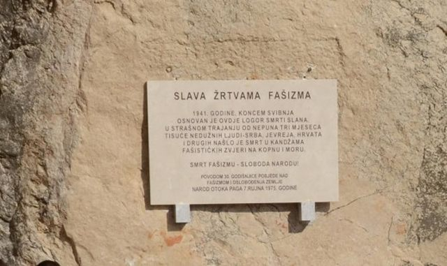 Commemorative plaque at the site of the Ustaša concentration camp in the bay of Slana on the island of Pag