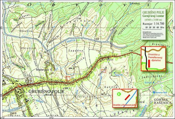 Na karti su označena mjesta stradanja u Kiselovom jarku i Trandlerovoj djetalini