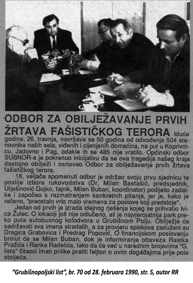 Grubišnopoljski list, br. 70 od 28. februara 1990, str. 5, autor RR