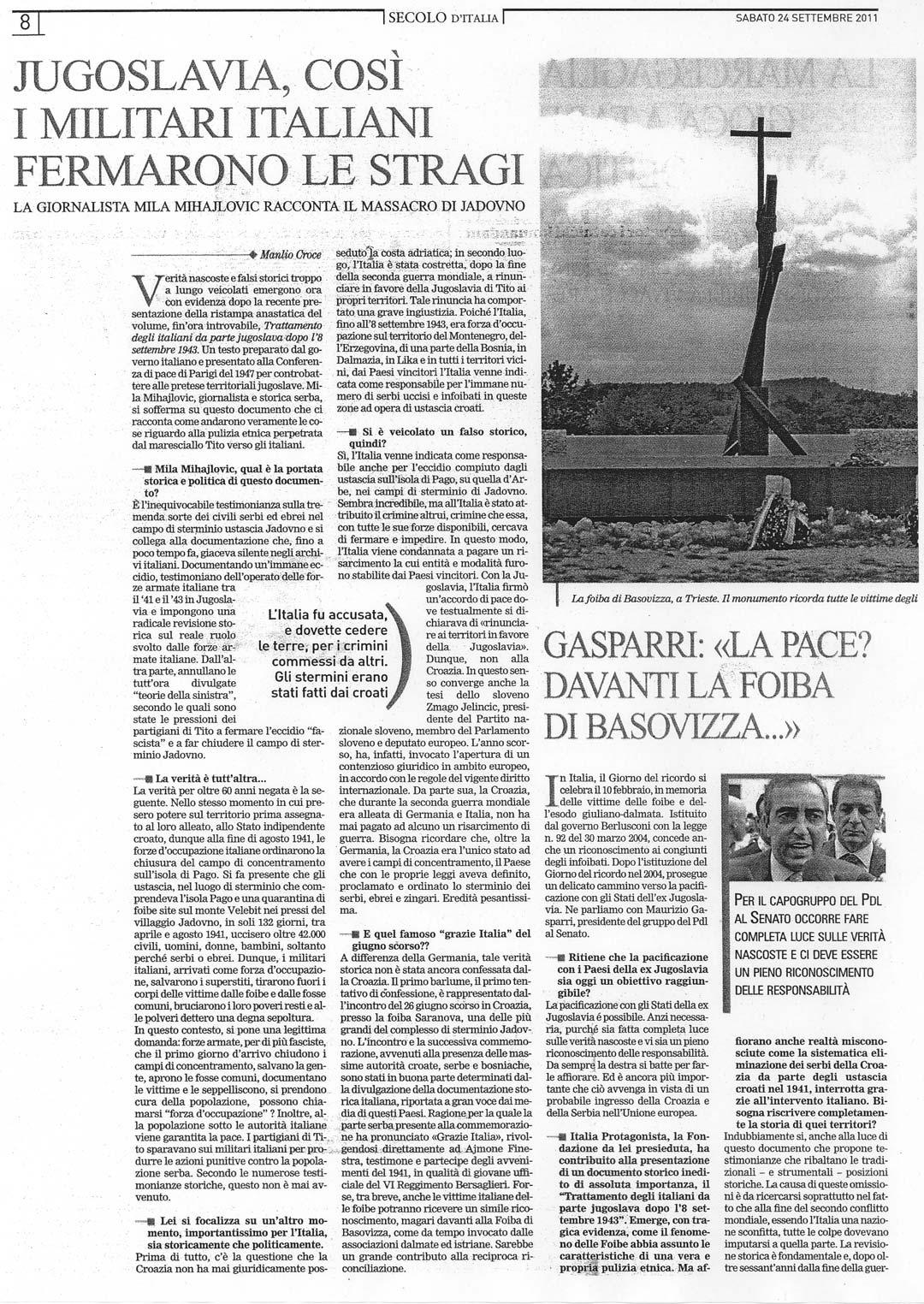 "Objavljeno u italijanskom listu ""Il Secolo d'Italia"", 24. septembra 2011."