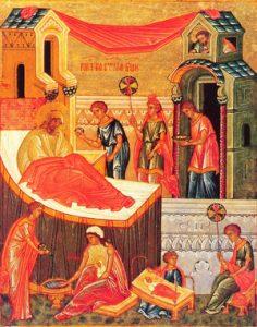 Rođenje Presvete Bogorodice - Mala Gospojina ikona XV vek- Rođenje Presvete Bogorodice - Mala Gospojina ikona XV vek