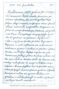 Faksimil jedne stranice iz zapisa Milana Radoje
