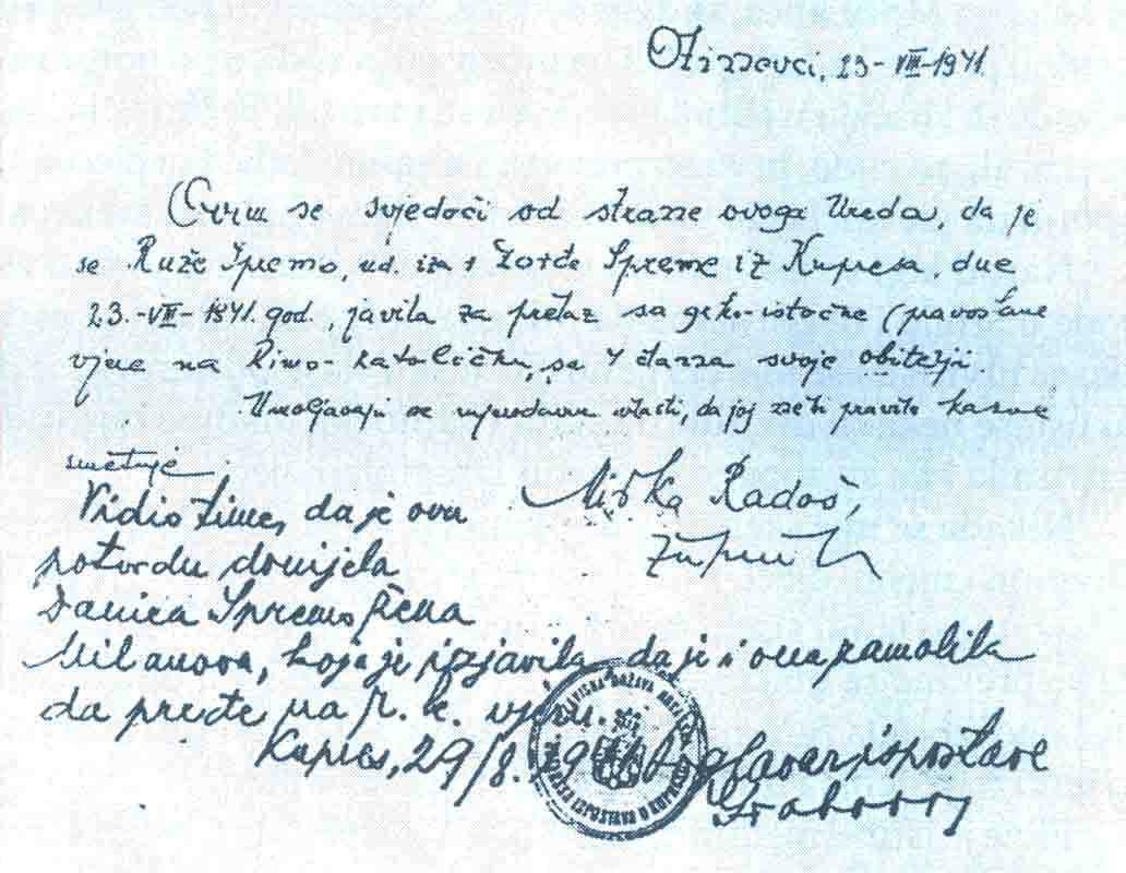 Potvrda nekog župnika iz okoline Kupresa kojom ovjerava da je neka udovica sa četvoro članova porodice iz pravoslavne prešla u katoličku vjeru