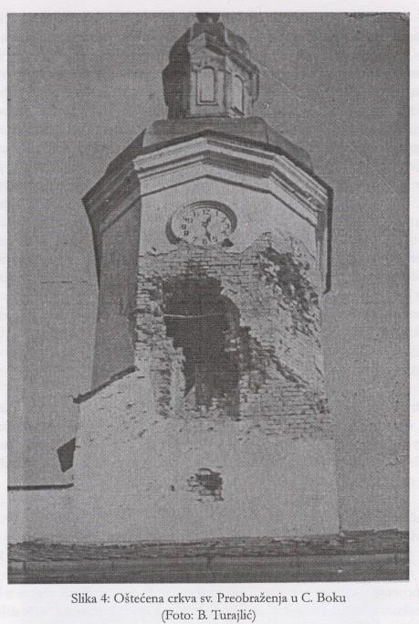 Slika 3: Oštećena crkva Sv.Preobraženja u Crkvenom Boku (Foto: B. Turajlić)