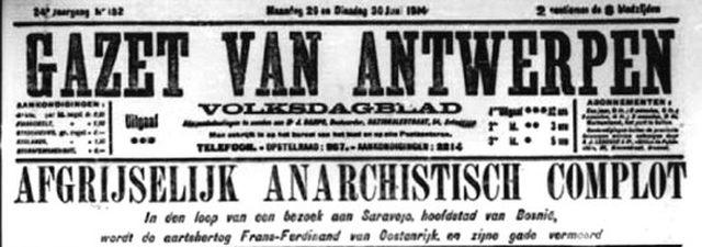 """Sa naslovne strane """"Hazet van Antverpena"""" od 29/30. juna 1914."""