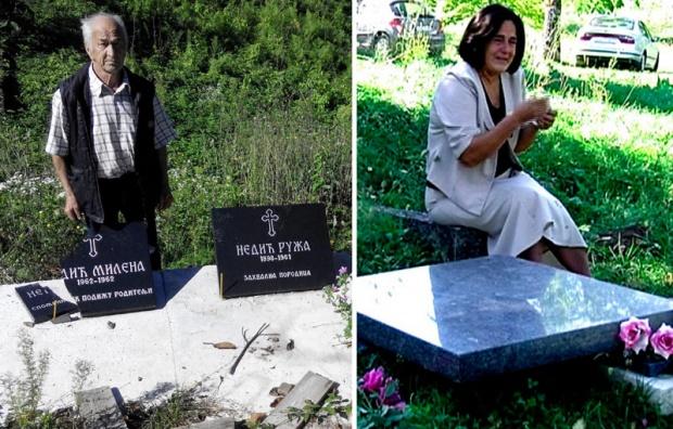 Njegomir Nedić kraj ćerkinog polomljenog spomenika , Desa Milošević polako gubi nadu