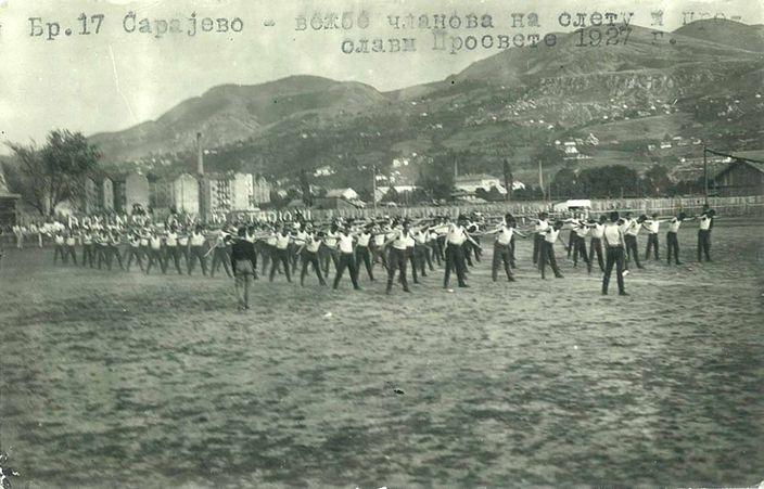 Sarajevo - Vežbe članova na sletu i proslavi Prosvete 1927.