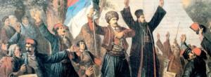 """Takovski ustanak"" – slika Vinsenta Kaclera objavljena 1882. godine."