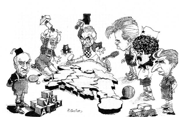 Karikatura Ranka Guzine nastala u vreme raspada nekadašnje Jugoslavije