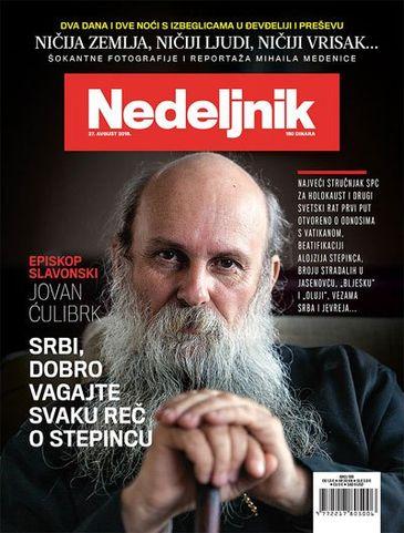 Naslovna strana Nedeljnika sa najavom intervjua episkopa Jovana