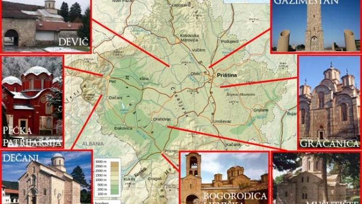 Mapa ugroženih manastira i spomenika na Kosovu i Metohiji