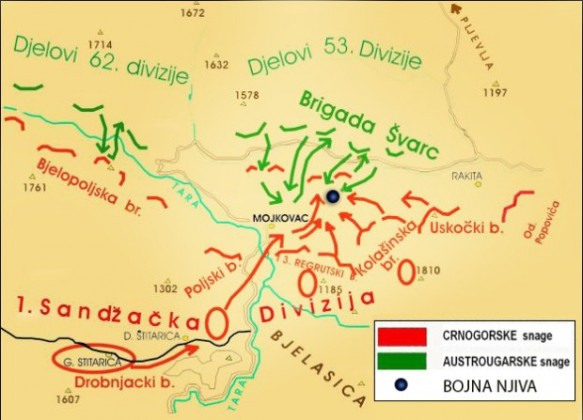 Mojkovačka bitka - mapa