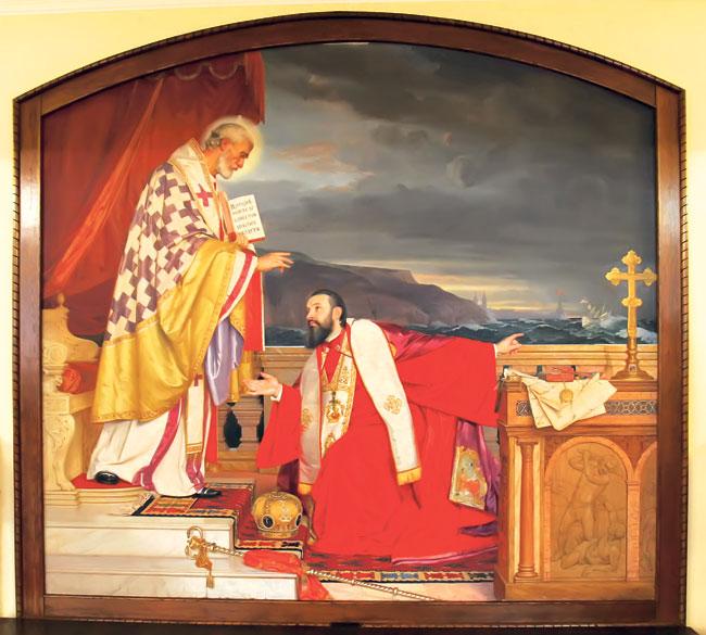 Platno na kojem je predstavljen patrijarh Lukijan čuva se u beogradskoj patrijaršiji (Foto Anđelko Vasiljević)