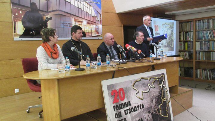Konferencija za novinare Organizacionog odbora manifestacije kojom se u martu u Bijeljini obilježava 20 godina od egzodusa 120.000 Srba sa područja Sarajeva.