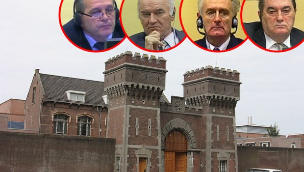 Sredoje Lukić, Radovan Karadžić, Ratko Mladić, Nebojša Pavković u zatvoru u Sheveningenu
