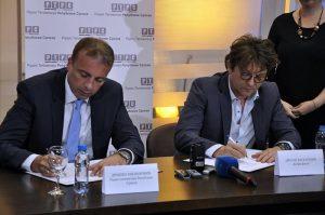 Generalni direktor Radio-televizija Republike Srpske, Draško Milinović, i direktor Kobra filma iz Beograda, Dragan Bjelogrlić