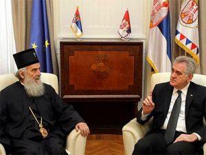 Patrijarh srpski Irinej i Tomislav Nikolić    Foto: TANJUG