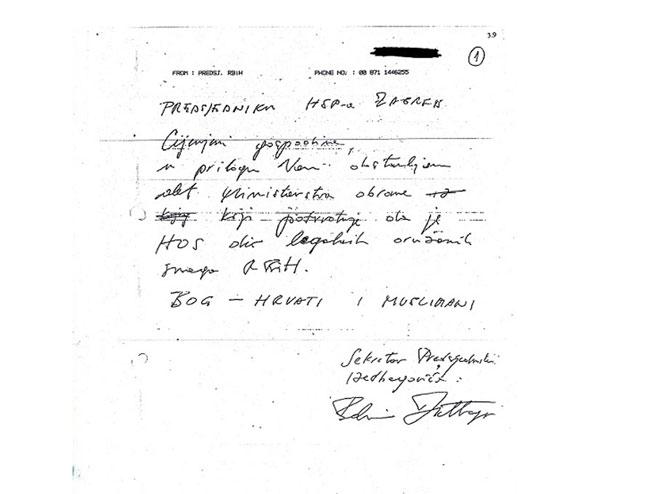 Pismo Izetbegovića predsjedniku HSPF oto: SRNA
