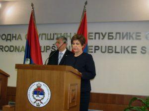 Predsjednik hrvatskog Sabora Željko Rajner i potpredsjednik NSRS Željka Stojičić  Foto: SRNA
