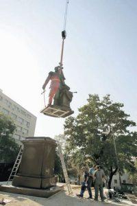 Postavljanje spomenika caru Nikolaju II u Beogradu Foto: A. Vasiljević