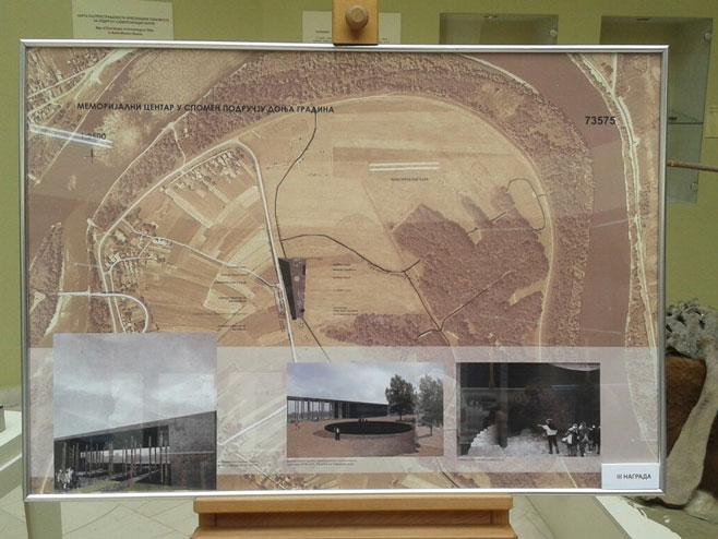 Изложба ликовних радова о пројекту Меморијалног центра у Доњој Градини Фото: РТРС