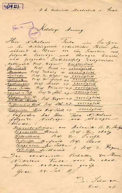 Uverenje Teslini položeni ispiti iz Graca