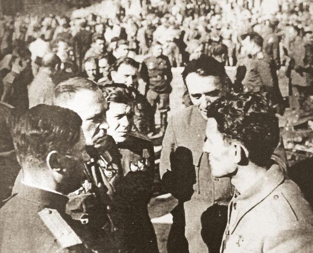 Blagoje Nešković sa generalom Ždanovim i Dapčevićem