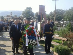 Polaganje vijenaca na groblju Sveti Pantelija u Banjaluci Foto: RTRS