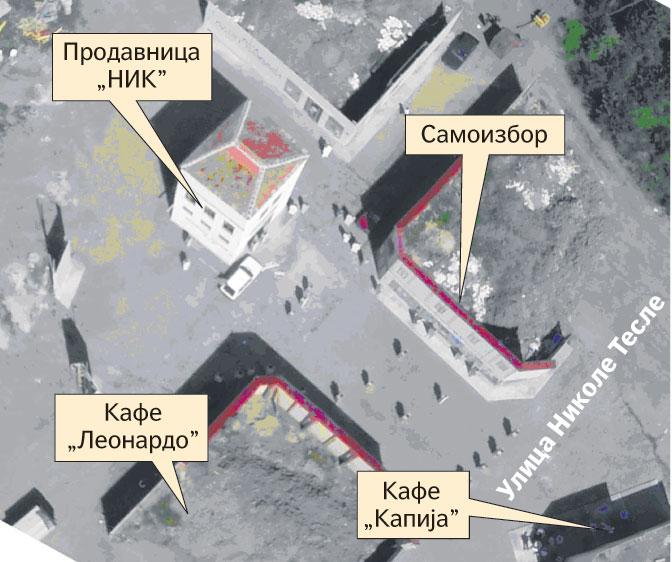 Slika rasporeda objekata na rekonstruisanoj sceni u Nikincima