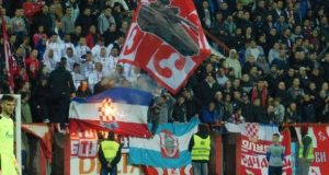 Zapaljena hrvatska zastava na utakmici Napredak - Zvezda, 19. novembra
