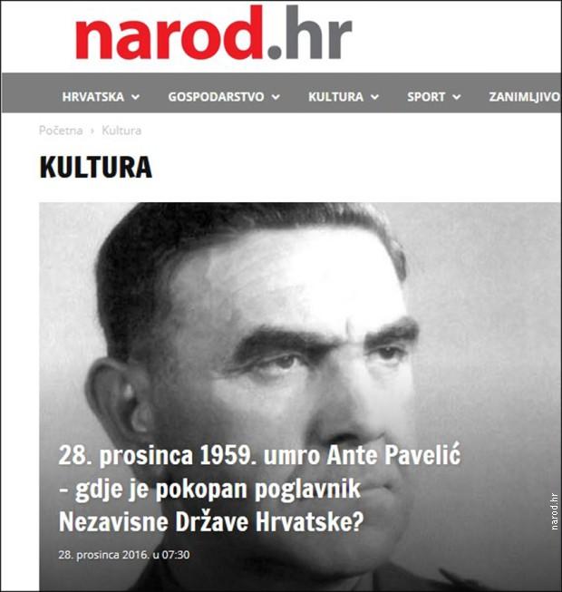 """Чланак о Анти Павелићу на страници """"културе"""" портала narod.hr"""