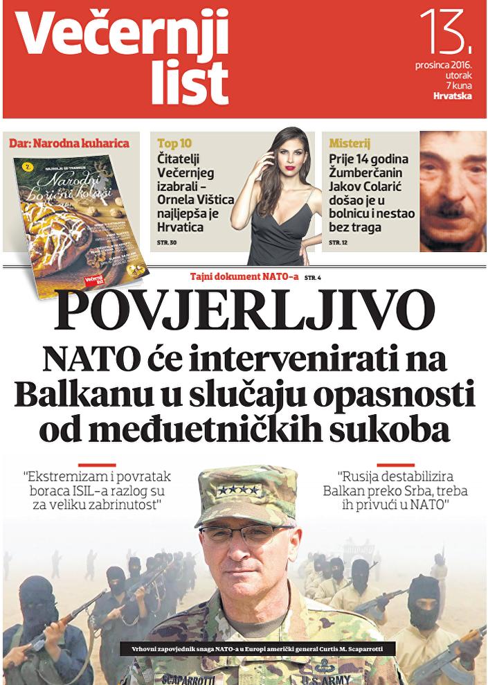"""Naslovna strana """"Večernjeg lista"""""""
