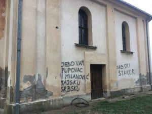 Умјесто обнове цркве, поруке мржње и нетрпељивости Фото: СРНА