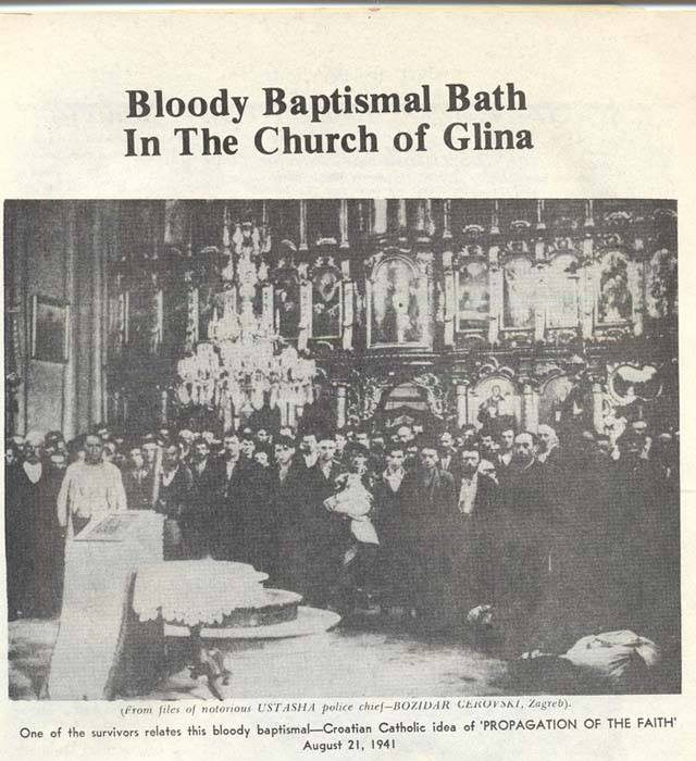 On this Holocaust Remembarnce Day, let's remind ourselves on a hidden, never recognized and never punished genocide commited by Croatian nazis (ustashe) against Serbs. At the picture: slaughter of 1.764 Serbs in a Serbian Orthodox church in Glina (nowdays Croatia).