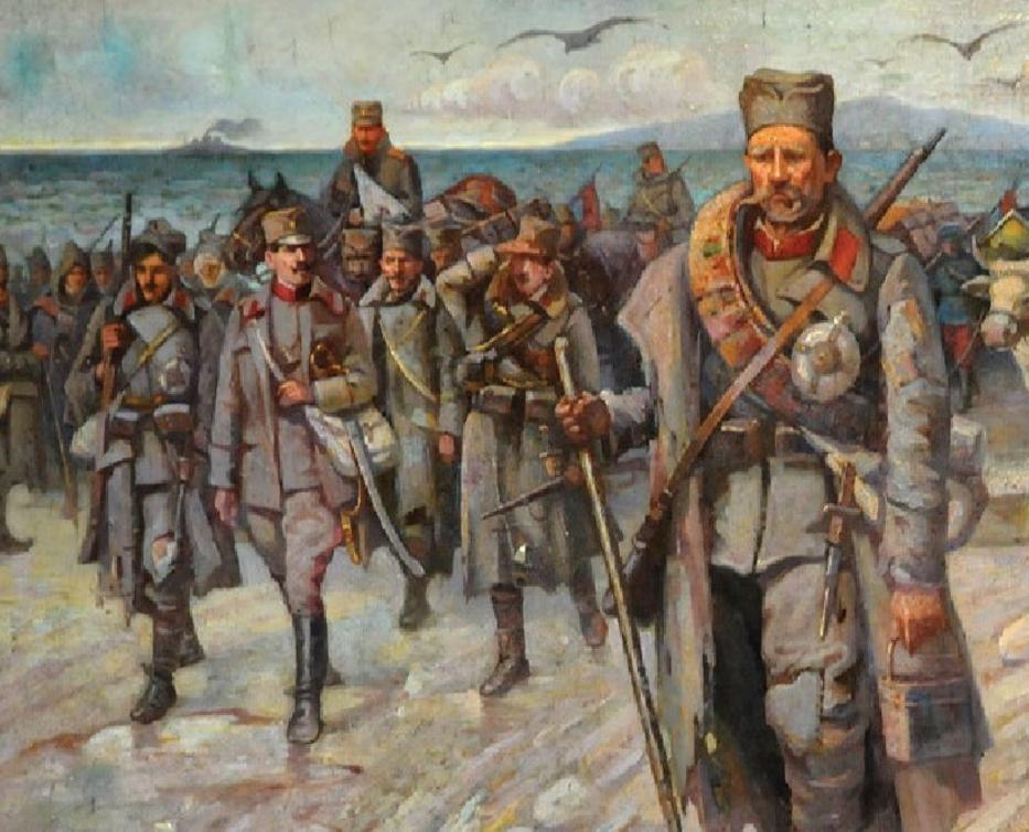 LEGENDARNO POVLAČENjE SRPSKE VOJSKE PREKO ALBANIJE (1916), ULjE NA PLATNU