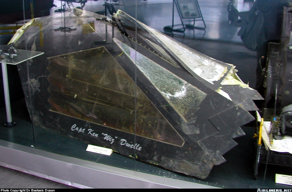Canopy from F-117A aircraft shot down on 29 March 1999 by a SA-3 missile near village Budjanovci, Serbia. The pilot ejected safely, a Combat Search and Rescue team of the USAF brought the pilot back to his squadron (7th FS). Aeronautical Museum Belgrade.