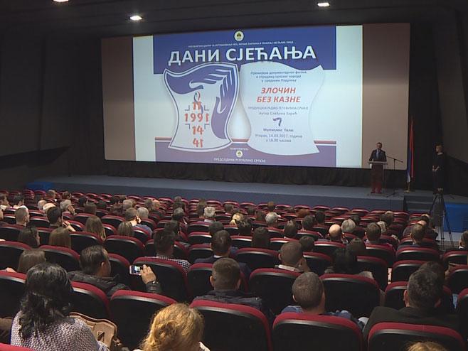 """Banjaluka: Prikazan film """"Zločin bez kazne - stradanje Srba u srednjem Podrinju"""" (Foto: RTRS)"""