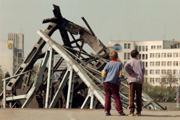 Srušeni most u Novom Sadu