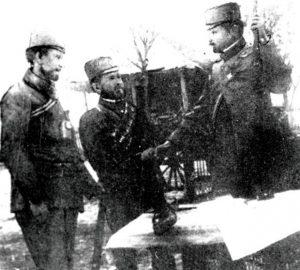 Toško Vlahović, Jovan Radović i Kosta Milovanović Pećanac (sleva nadesno)