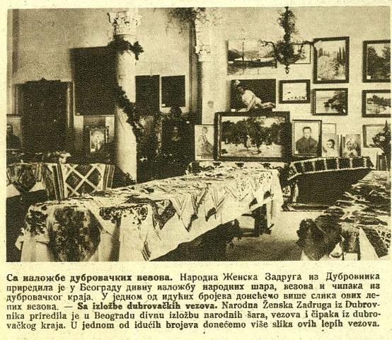 Izložba ručnih radova Narodne ženske zadruge iz Dubrovnika