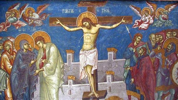 Freska raspeća Isusa Hrista u manastiru Visoki Dečani. Foto: Mondo
