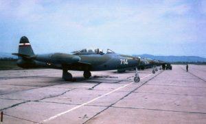 Postrojeni lovci-bombarderi F-84G Tanderdžet na aerodromu Cerklje (foto KRV i PVO)